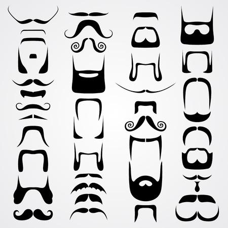 Vector set of whiskers art set sign. Vector illustration