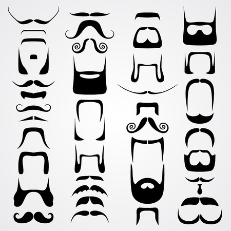 whiskers: Vector set of whiskers art set sign. Vector illustration