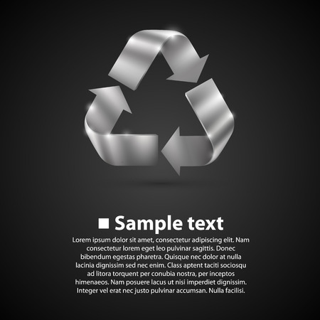 recycle symbol vector: Recycle Symbol. Vector illustration art background black