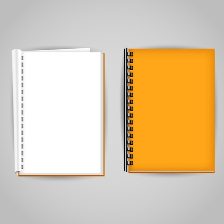 synopsis: Yellow brochure covered and open. Vector illustration Illustration