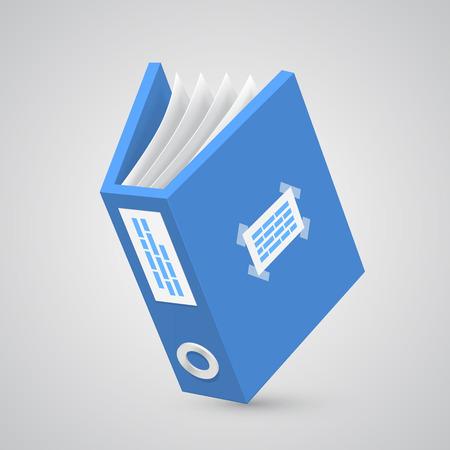 10eps: Folder paper blue art object. Vector illustration