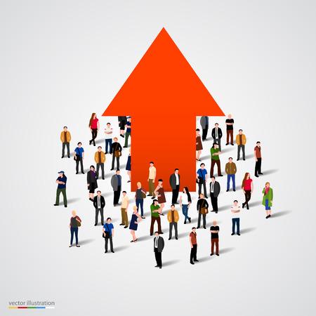 and people: Curva de crecimiento y progreso en la gente multitud. Ilustración vectorial