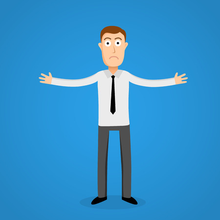 man confused: Confused business man. Cartoon person. Vector illustration