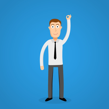 satisfy: Satisfy business man and OK sign. Vector illustration