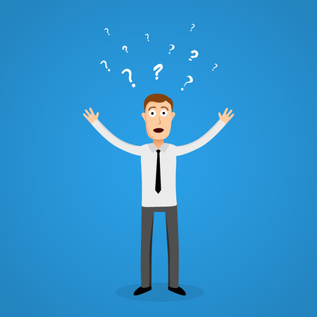 panic: Confused business man in panic. Vector illustration