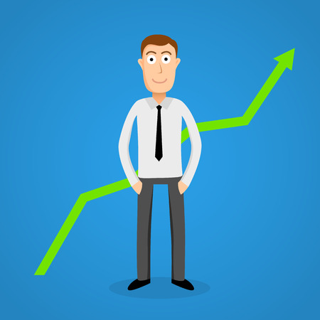 satisfy: Satisfy business man and growth chart. Vector illustration Illustration