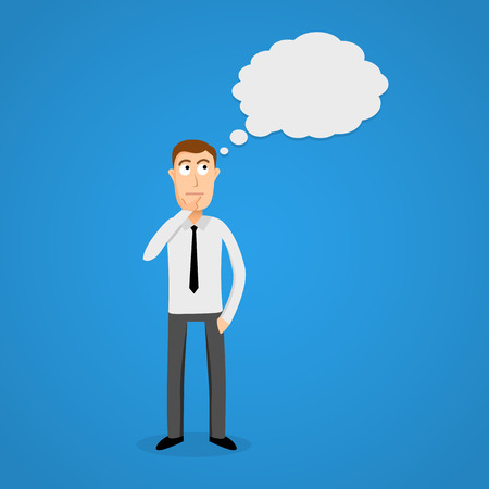 dream job: Business man with thinking cloud. Vector illustration