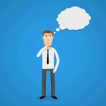 Thinking Cloud And Cartoon Business Man Vector Illustration Royalty Free Cliparts Vectors Stock Image 35865212