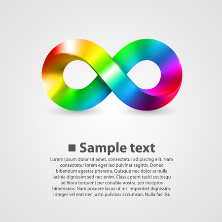 Vector symbol of infinity rainbow. illustration art background Illustration
