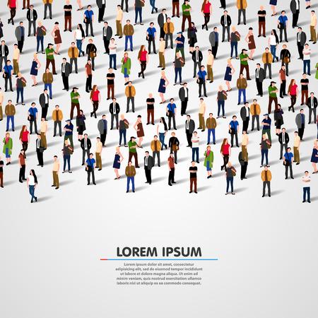 young people group: Grande gruppo di persone su sfondo bianco. Vector background