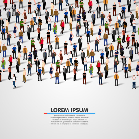 Large group of people on white background. Vector background Çizim