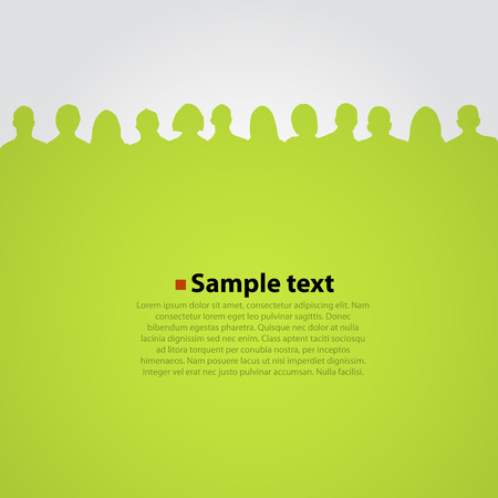 leadership abstract: People heads silhouette green background.. Vector illustration