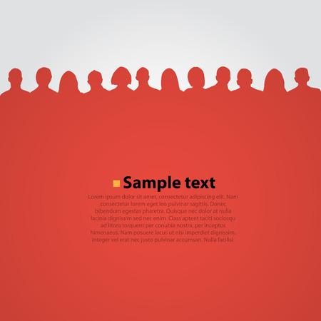 人の頭のシルエット赤い背景の.ベクトル図  イラスト・ベクター素材