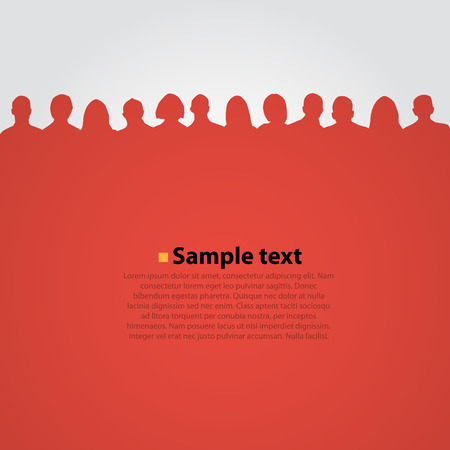 crowd: People heads silhouette red background.. Vector illustration Illustration