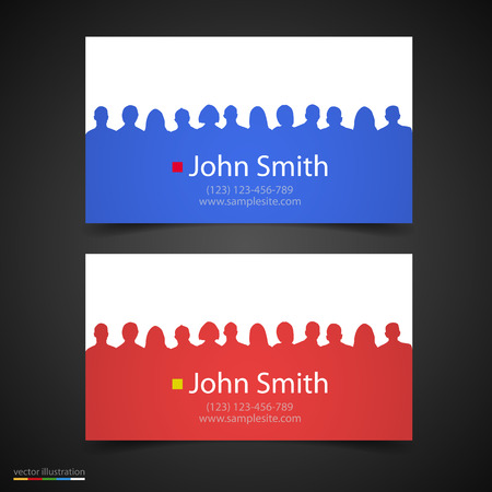 conception: Vector business card conception with people silhouette. Illustration