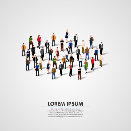 Template for advertising brochure with people crowd. Vector illustration