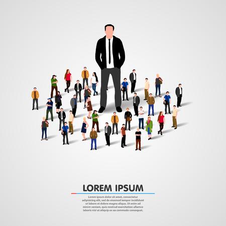 lideres: Bienes Líder. Hombre de negocios en la multitud. Ilustración vectorial