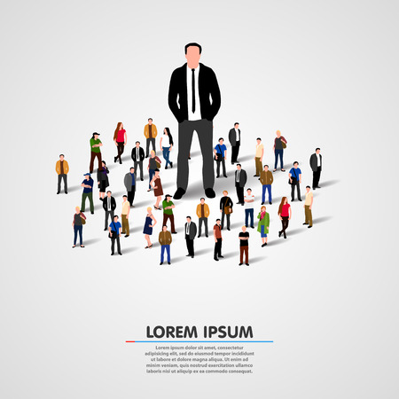 one on one: Real Leader. Business Man in crowd. Vector illustration