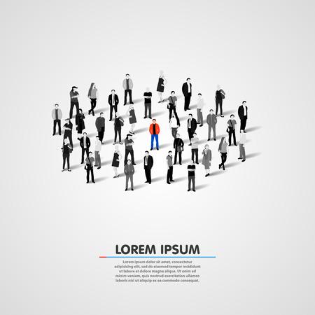 solos: Persona única en la multitud. Ilustración vectorial Vectores