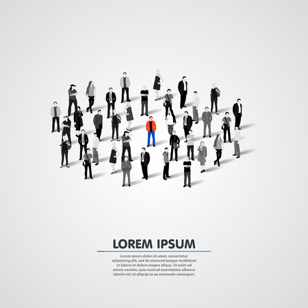 alone in crowd: Unique person in the crowd. Vector illustration