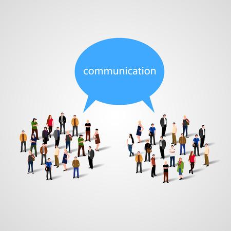 gente comunicandose: Gran grupo de personas con la burbuja que habla. Ilustración vectorial Vectores