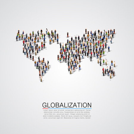 community: Group of people making a earth planet shape. Vector illustration