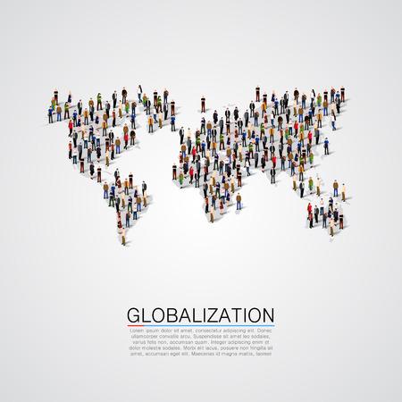 conectar: Grupo de personas haciendo una forma de planeta tierra. Ilustración vectorial