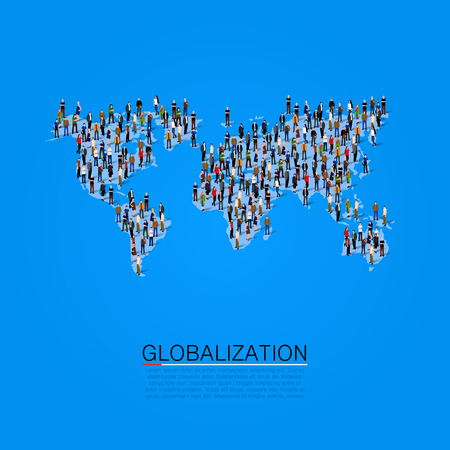 making earth: Group of people making a earth planet shape. Vector illustration