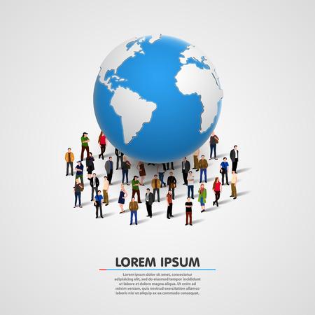 Illustration von Menschen unter dem Planeten Erde. Vektor-Illustration Illustration