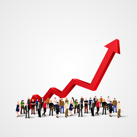 Growth chart and progress in people crowd. Vector illustration Ilustração