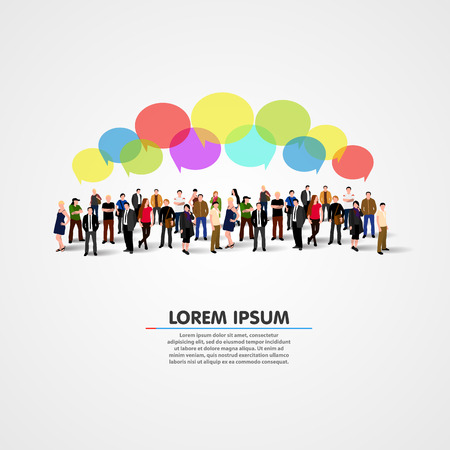 network and media: Business social networking and communication concept. Vector illustration