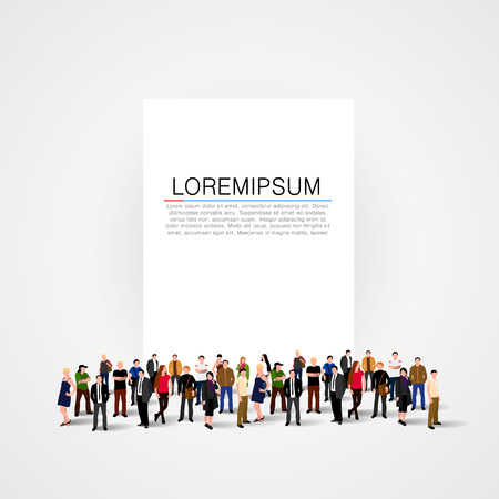 People crowd with blank banner. Vector illustration