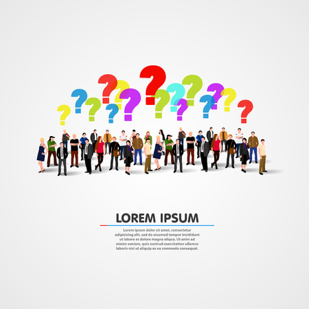 Large group of people with questions. Vector illustration