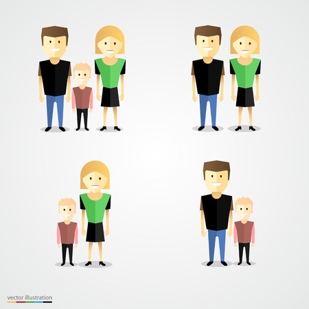 family with two children: Family colorful cartoot icon set. Vector illustration