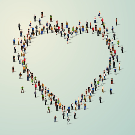 unity is strength: Large group of people in the shape of a heart.