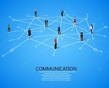 people: 連接的人。社交網絡的概念。矢量插圖