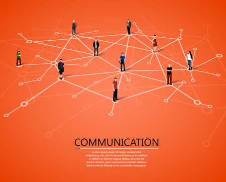 networking: Connecting people. Social network concept. Vector illustration