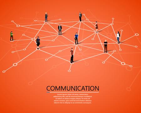 orange man: Connecting people. Social network concept. Vector illustration