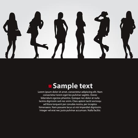 Fashion girls vector dark backgrounds. Vector illustration