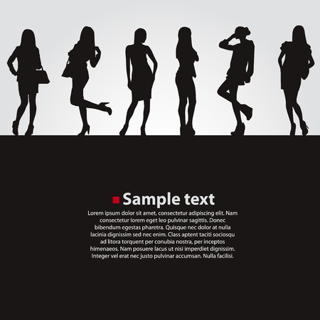 model fashion: Fashion girls vector dark backgrounds. Vector illustration