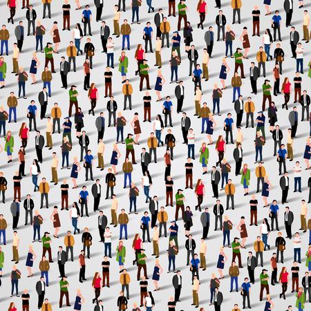 mensen groep: Grote groep mensen. Vector naadloze achtergrond Stock Illustratie
