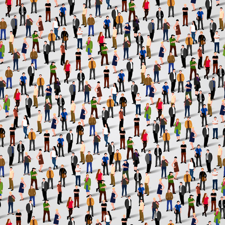 meet: Large group of people. Vector seamless background