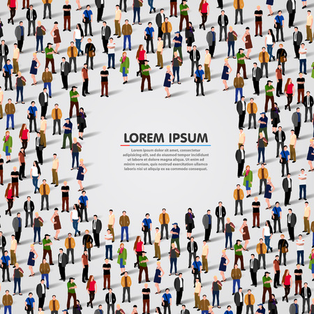 meet: Large group of people background. Vector illustration
