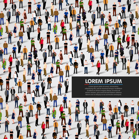 citizens: Large group of people background. Vector illustration