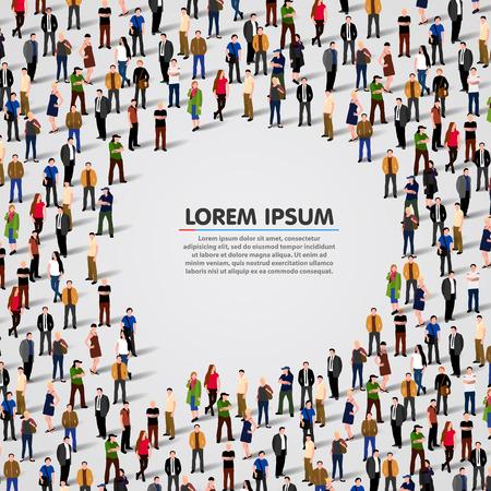 Große Gruppe von Menschen in Form der Sprechblase. Vector Hintergrund Illustration