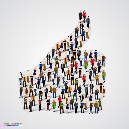 Group of people in form of thumb. Vector illustration Vettoriali