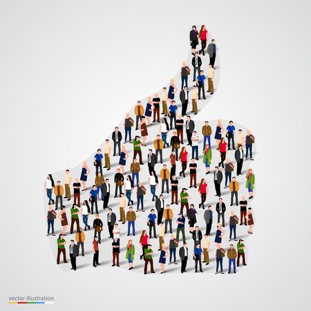 Skupina lidí v podobě palce. Vektorové ilustrace