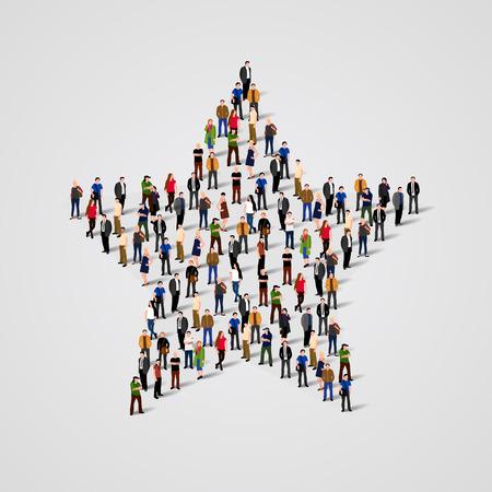 Grote groep van mensen die zich in een ster teken. Vector Stock Illustratie