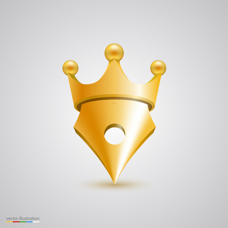 signing authority: Symbol pen with crown art. Vector illustration