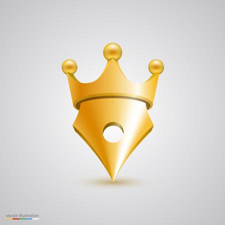 nib: Symbol pen with crown art. Vector illustration